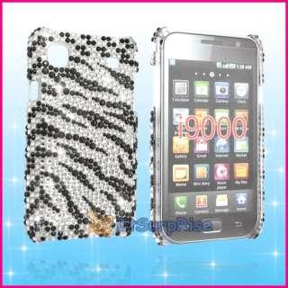 Bling Diamond Black Zebra Back Hard Case Cover For Samsung i9000