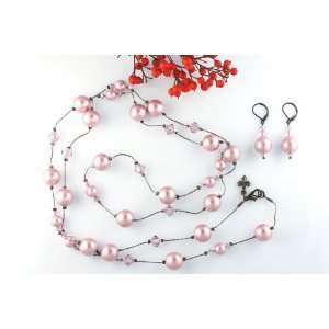 Swarovski Pearl & Swarovski Crystal Necklace, 45 Length   Powder Rose