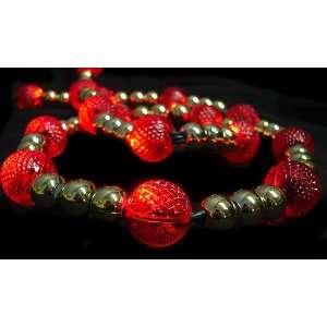 GKI 6 Lighted LED Red & Gold Beaded Christmas Garland 20 Lights