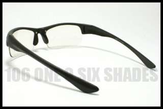 MENS Sports Wrap CLEAR Lens Motorcycle Riding Glasses Matte BLACK
