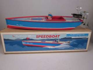 Wind Up Tin boat vtg style toy Speedboat Outboard Motor