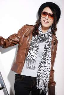 60008 Korea Fashion Unique Leopard Print White Scarf