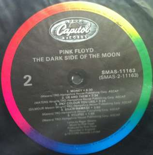 PINK FLOYD dark side of moon LP VG+ SMAS 11163 1980s Press W/2