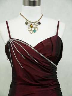 Cherlone Satin Burgundy Long Prom Ball Gown Wedding/Evening Dress UK