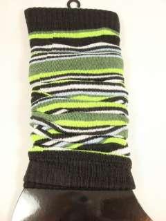 Iris Womens green white black stripes fashion leg warmer socks One