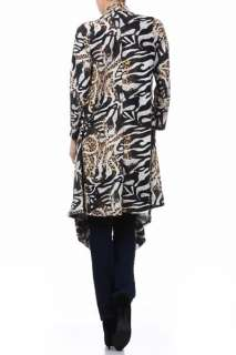 Sweater Cardigan Jacket Black White Gold Animal Small Medium Large