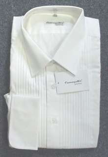 New Mens Fumagalli White Cotton Laydown Tuxedo Shirt