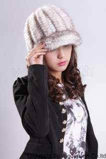510 new real knit mink fur 5 color hat /caps