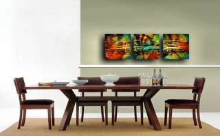 TRIPTYCH PAINTINGS abstract decorative MODERN Contemporary ART M.Lang