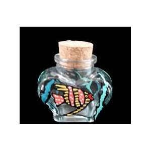 Large Heart Shaped Bottle with Cork top   6 oz.   4.5 tall: Home