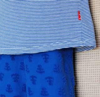 Le Top Child Girl Blue Fish Top Capri Pants Set Outfit size 6 6X Kids