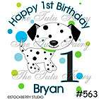 dalmatian puppy dog spots personalized birthday shirt boy girl name