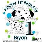 dalmatian puppy dog spots personalized birthday shirt boy girl name