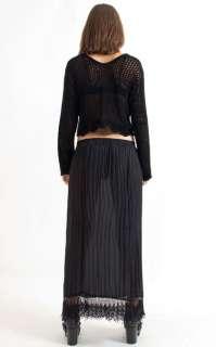 Vtg 90s Sheer Chiffon Lace Crochet Pleated Gypsy Boho Long Maxi Dress