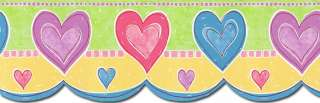 KIDS GIRLS Blue, Pink, Purple Hearts Wallpaper Border TW38027DB
