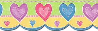 KIDS GIRLS Blue, Pink, Purple Hearts Wallpaper Border TW38027DB