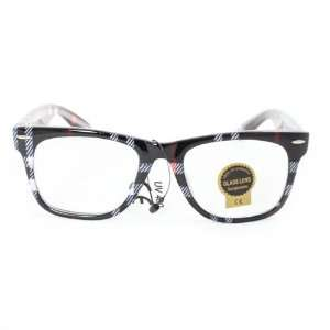 Wayfarer Fashion Sunglasses 1888 Black Checker Plastic Frame Clear
