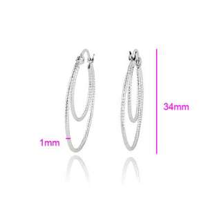 Perfect 9K White Gold Filled Womens 2 Circle Hoop Earrings