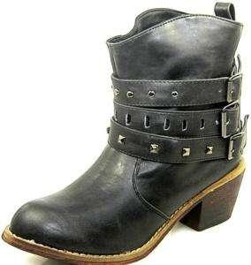 Western Cowboy Vintage Ankle High Bootie Shoes Black