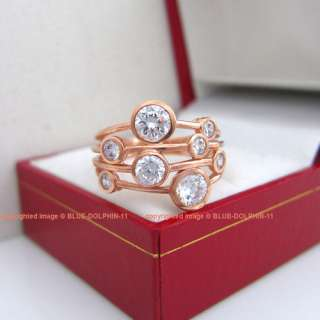 9CT Real Solid Rose Pink Gold Engagement Wedding Ring
