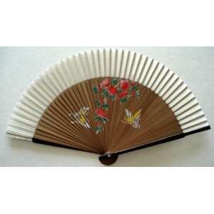 Chinese Art Painting Silk Bamboo Fan Butterfly Flower