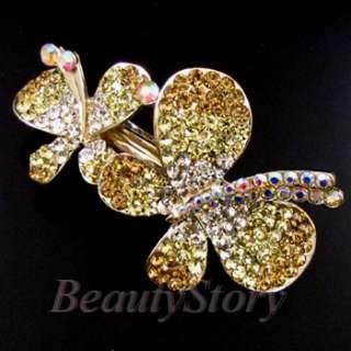 rhinestone crystal butterfly hair barrette clip wedding