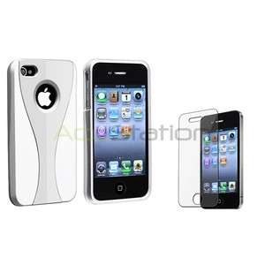 Silver/White 3 Piece Cup Shape Hard Case Cover+LCD Film Guard for