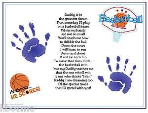 Daddy Teach Me BASKETBALL Poem Baby Handprints Christmas Fathers Day