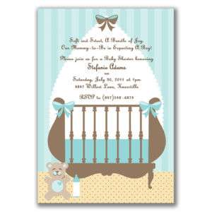 Cute Crib Invitations Blue Baby Shower Boys Modern Chic