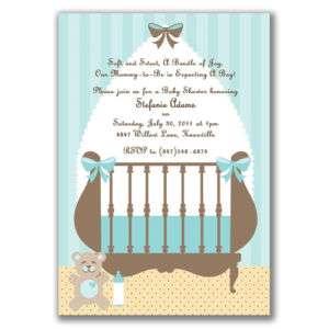 Cute Crib Invitations Blue Baby Shower Boys Modern Chic
