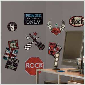 ROCK N ROLL Boys Wall Stickers Guitar Skull Decals Sign