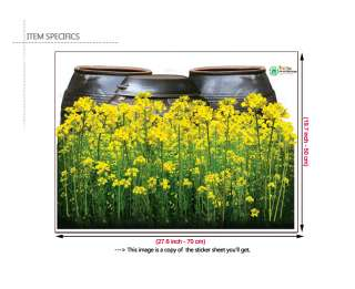YELLOW CANOLA FLOWERS Mural Art DIY Wall Sticker Paper