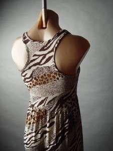 Ethnic Safari Mixed Zebra Leopard Animal Print Crochet Ruffled Long