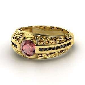 Vintage Romance Ring, Round Red Garnet 14K Yellow Gold Ring with Black