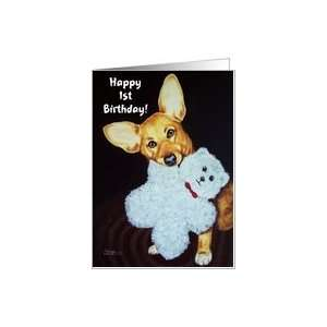 Happy Birthday, Corgi puppy with white teddy bear Card Toys & Games