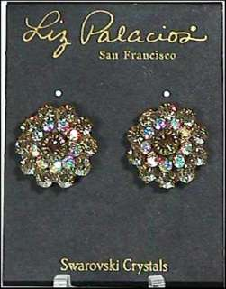 Liz Palacios Sparkling Swarovski Crystal Pierced Stud Earrings   NWT
