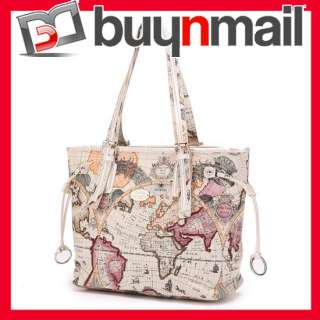 Tote Shopper Shoulder bag Womens Handbag World Map