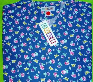 NURSES UNIFORM SCRUB TOP BUTTERFLY GARDEN M MED NEW