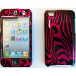 APPLE iPOD TOUCH 4 2D BLACK / HOT PINK ZEBRA FACE CASE