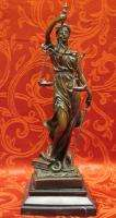 Art Deco Lady Justice Law Bronze Marble Sculpture Statue Figure