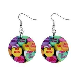New Valentine Candy Conversation Heart Dangle Button Earrings Jewelry