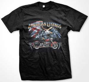 American Legends Eagle Flag Motorcycle Biker T shirt