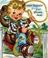 Vintage Magnet Happy Birthday Cowboy Kids #V25