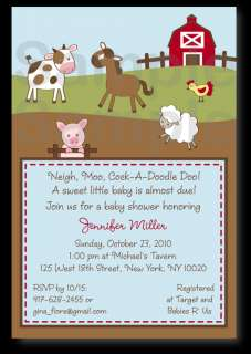 Farm Animal Acre Baby Shower Invitation Print Your Own