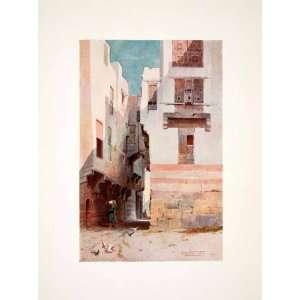 1906 Color Print Street Scene Boulaq Beaux Lac Cairo Egypt