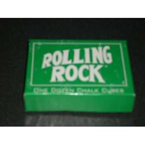 ROLLING ROCK Beer Advertising Piece   One dozen pool stick chalk cubes