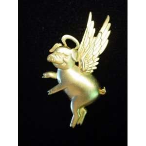 Flying Angel Pig With Halo Goldtone Pewter Pin by JJ
