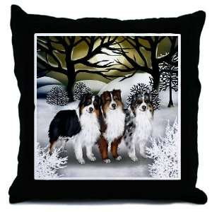 AUSTRALIAN SHEPHERD DOGS WINTER SUN Pets Throw Pillow by CafePress