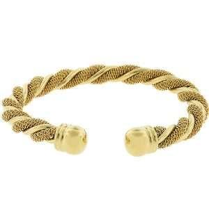 14k Yellow Gold Plated Twisting Cuff Bracelet Jewelry
