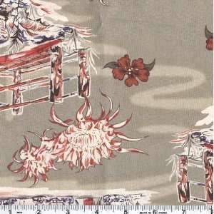Wide Rayon/Cotton Shirting Hula Hut Lounge Sage Fabric By The Yard